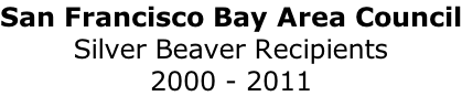 San Francisco Bay Area Council Silver Beaver Recipients 2000 - 2011