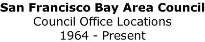 San Francisco Bay Area Council Council Office Locations 1964 - Present